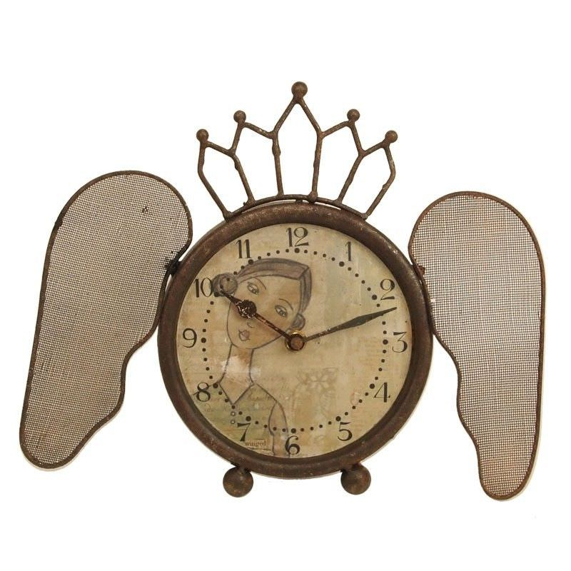 Iron Clock with Butterfly Wings and Girl Image