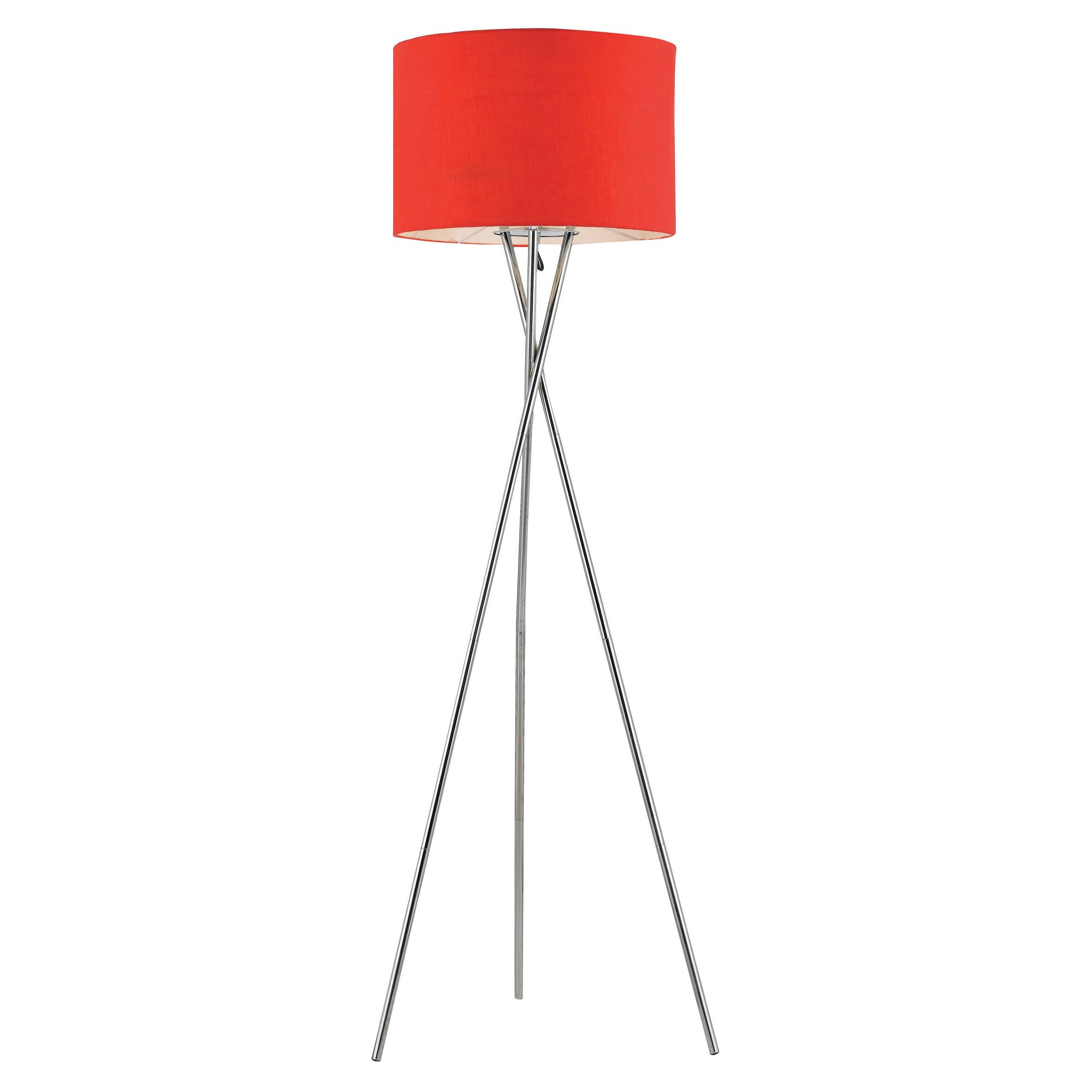 Denise Metal Tripod Floor Lamp, Silver / Red