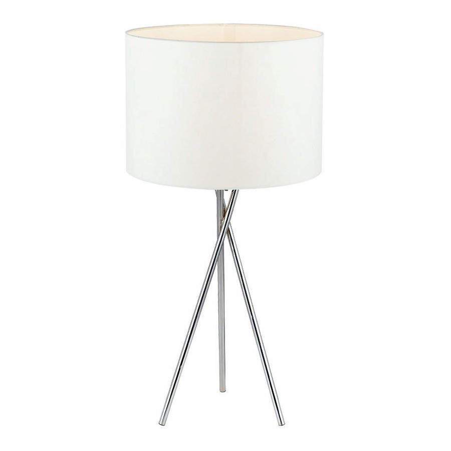Denise Metal Tripod Table Lamp, Silver / White