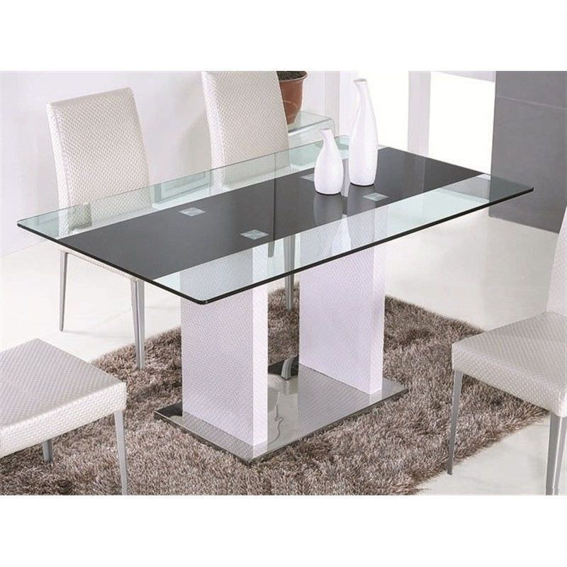 Rita 160cm Glass Top Dining Table - White (Table Only)