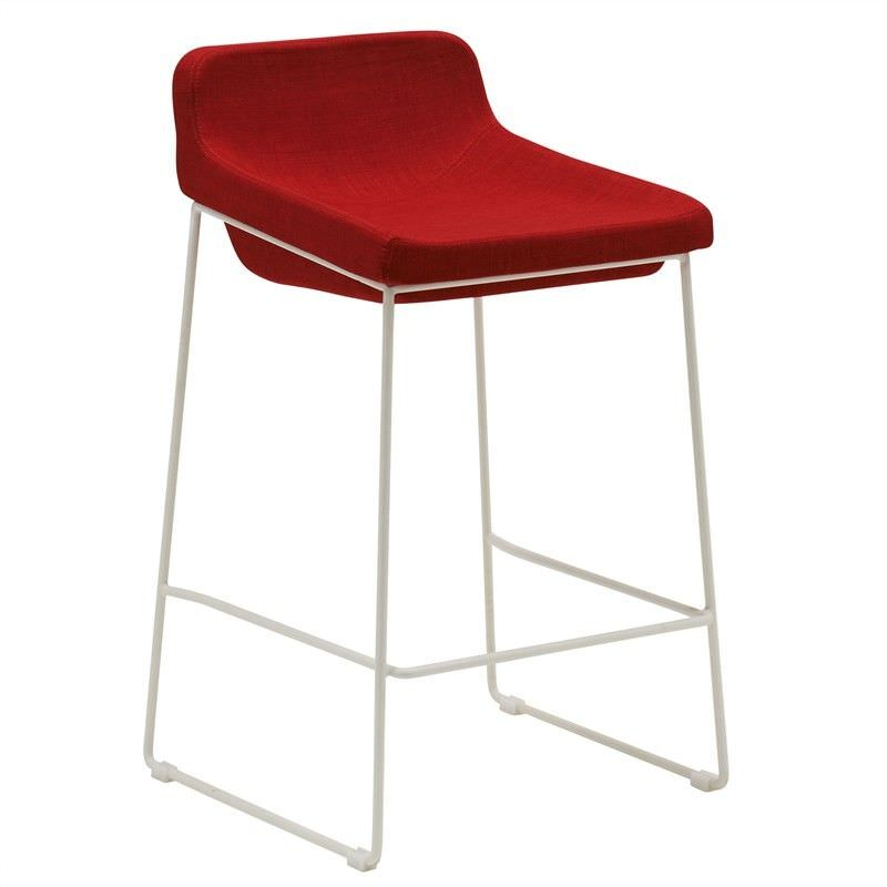 Volley Commercial Grade Metal Counter Stool with Low Back Fabric Seat, Red