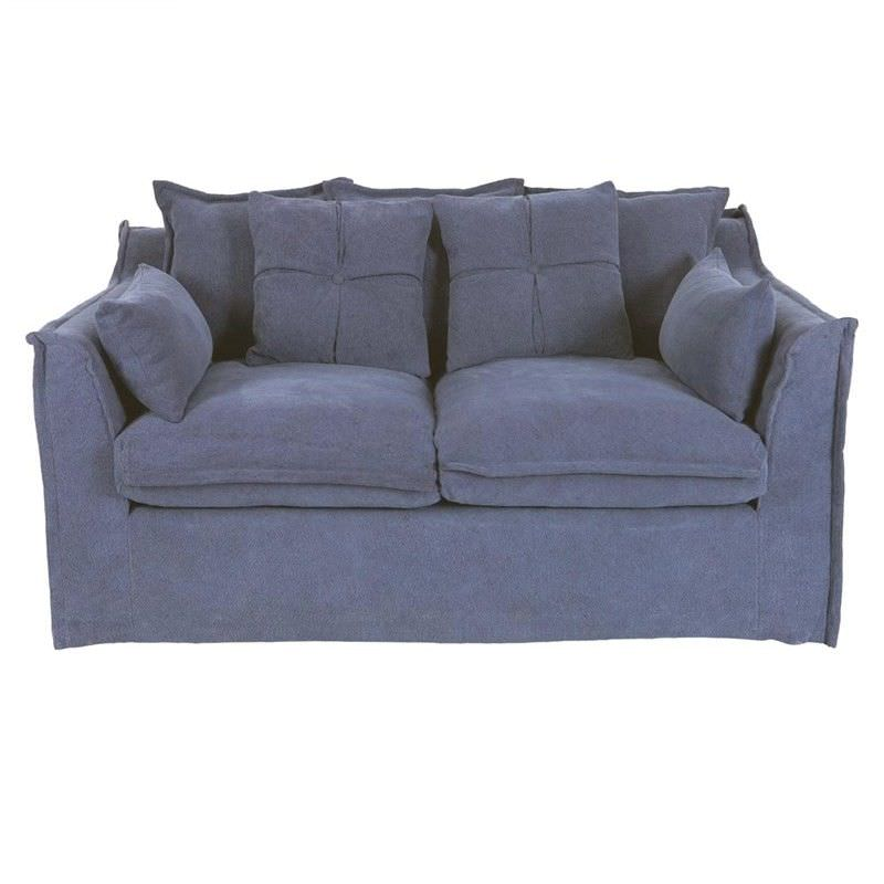 Belgium Pine and Linen 2 Seater Sofa with 7 Pillows - Blue