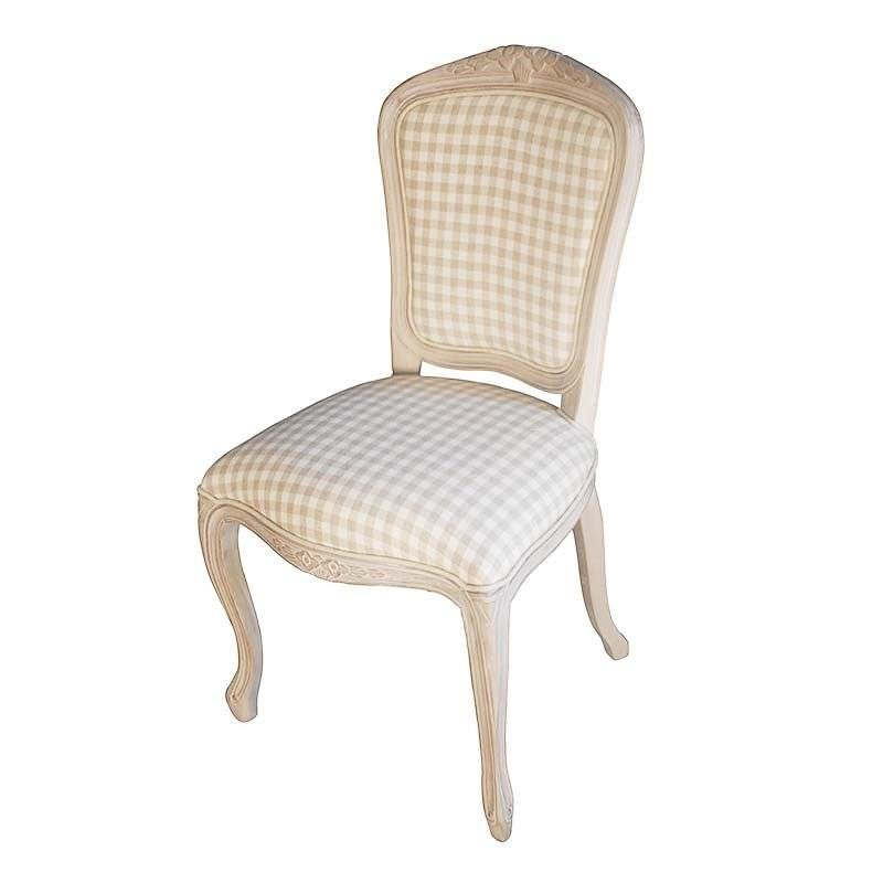 Louis XV Fabric Upholstered Solid Beech Timber Dining Chair - White Wash