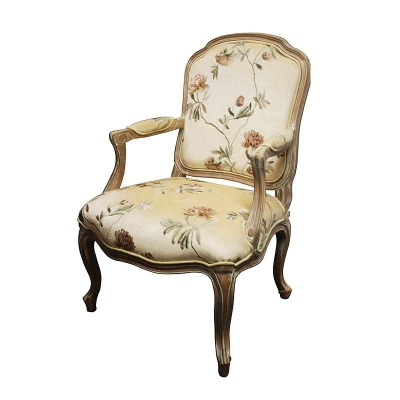 Louis XV Floral Fabric Upholstered Solid Beech Timber Armchair - White Wash