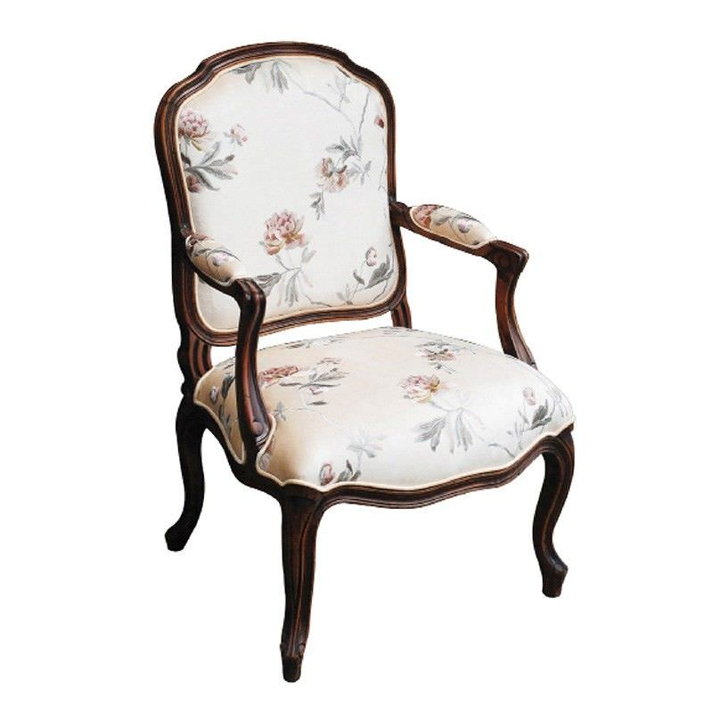 Louis XV Beech Wood Chair with Flower Fabric in Walnut