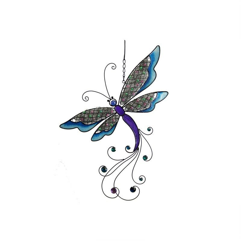 Dragonfly With Mesh and Beads Decor Wall Art