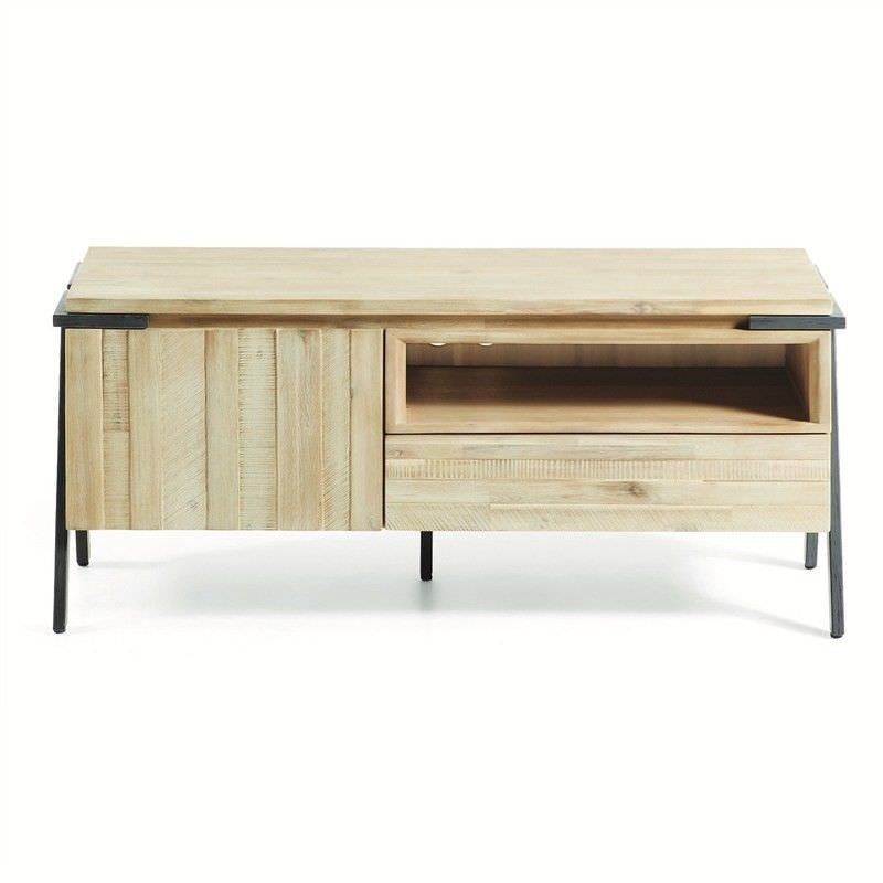 Detroit Solid Acacia Timber and Metal TV Unit, 125cm