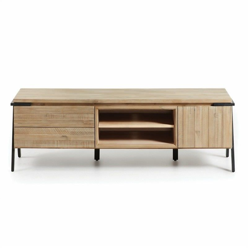 Detroit Solid Acacia Timber and Metal TV Unit, 165cm
