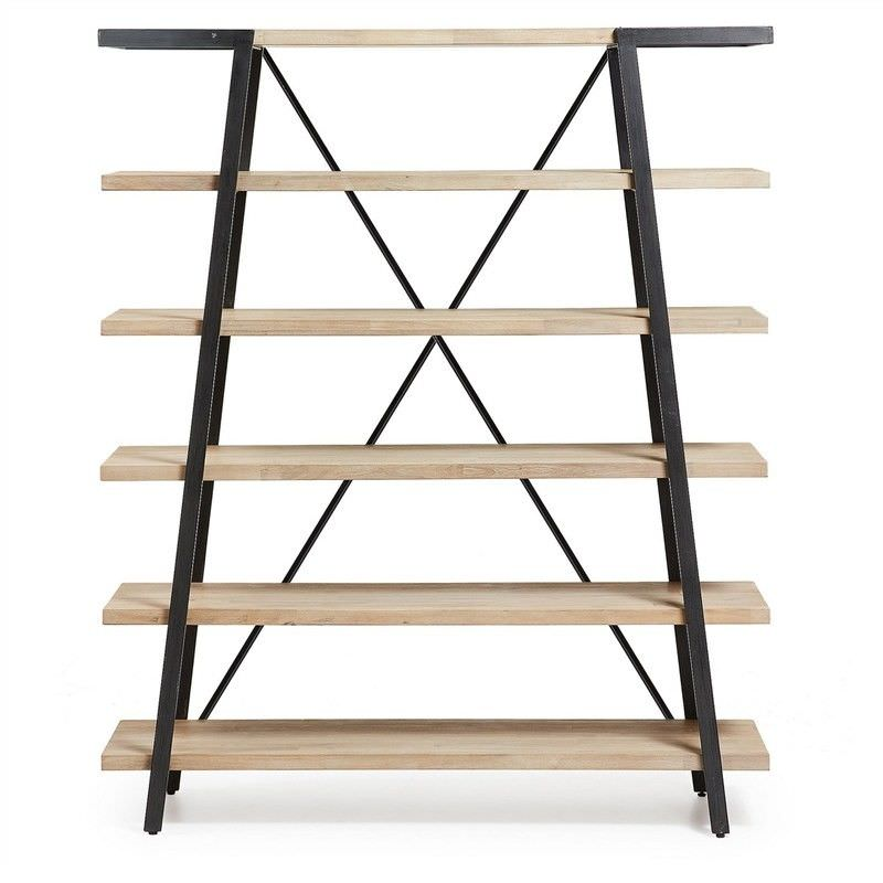 Detroit Solid Acacia Timber and Metal Bookshelf