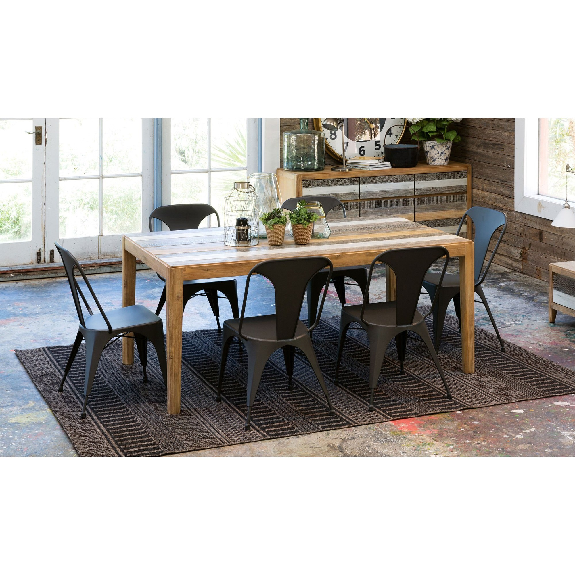 Hobson 7 Piece Acacia Timber Dining Table Set with Metal Chairs, 180cm