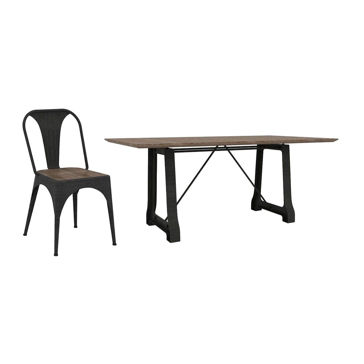 Cayo 7 Piece Acacia Timber & Metal Dining Table Set, 210cm