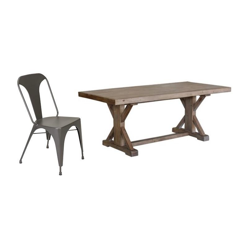 Ballarat & Hobson 7 Piece Reclaimed Pine Timber Dining Table Set, 193cm