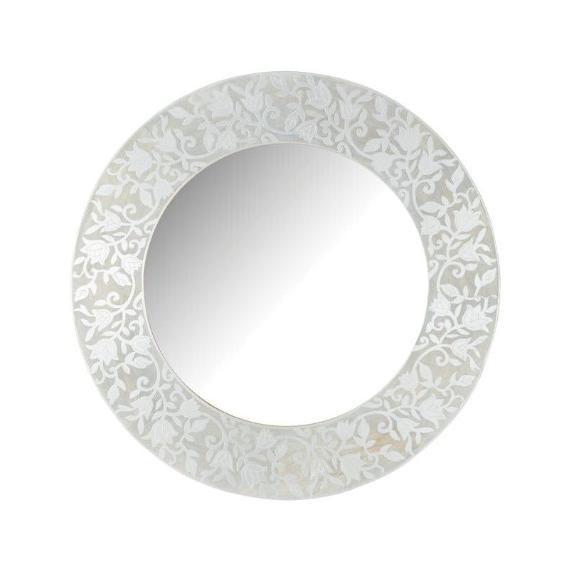Jaya Metal Amp Wood Frame Round Wall Mirror 76cm