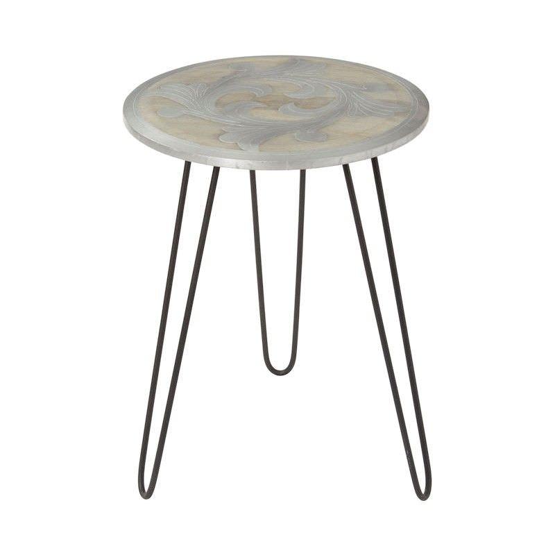 Jaya Mango Wood & Metal Round Side Table