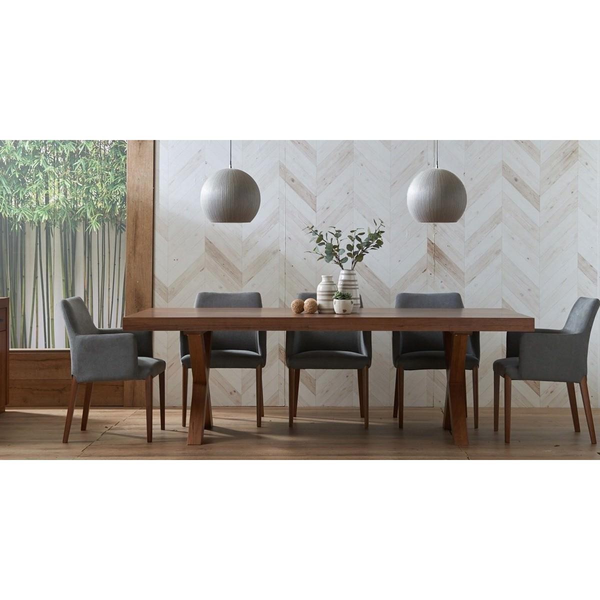 Madalyn 9 Piece Tasmania Oak Timber Dining Table Set, 240cm