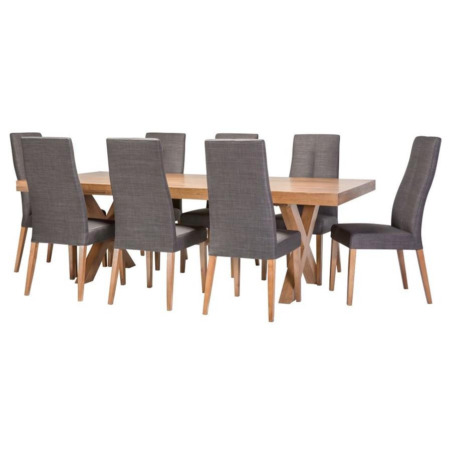Madalyn 9 Piece Tasmania Oak Timber Dining Table Set with Rawson Chair, 240cm