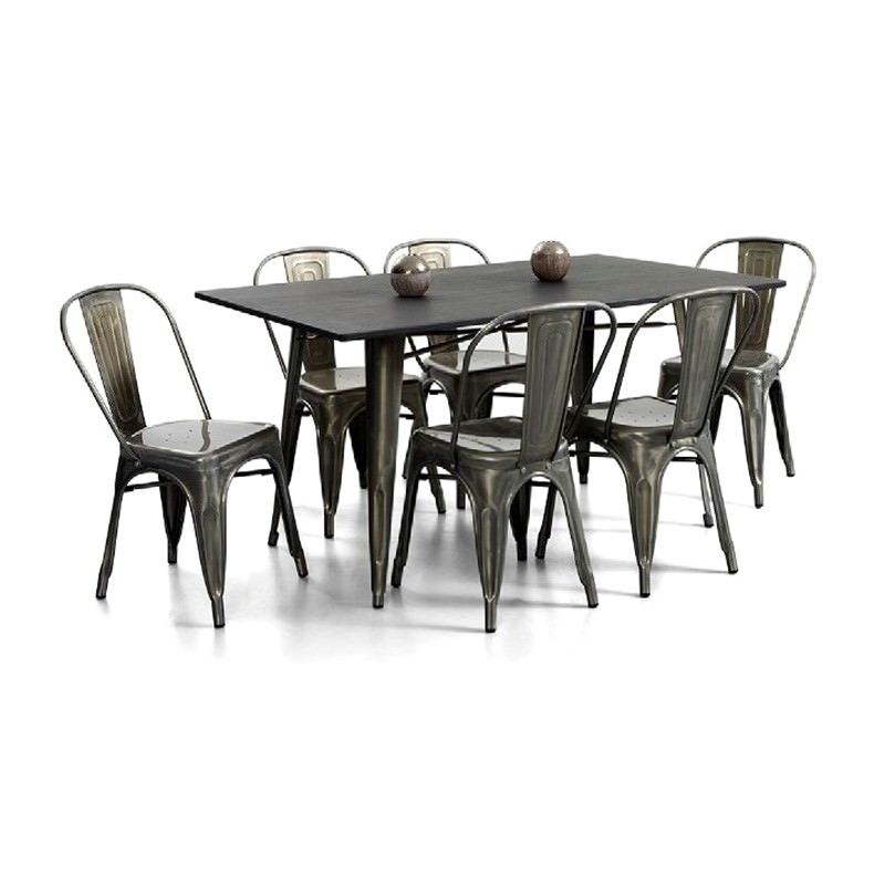 Raidon Replica Tolix 7 Piece Steel Dining Table Set, 150cm