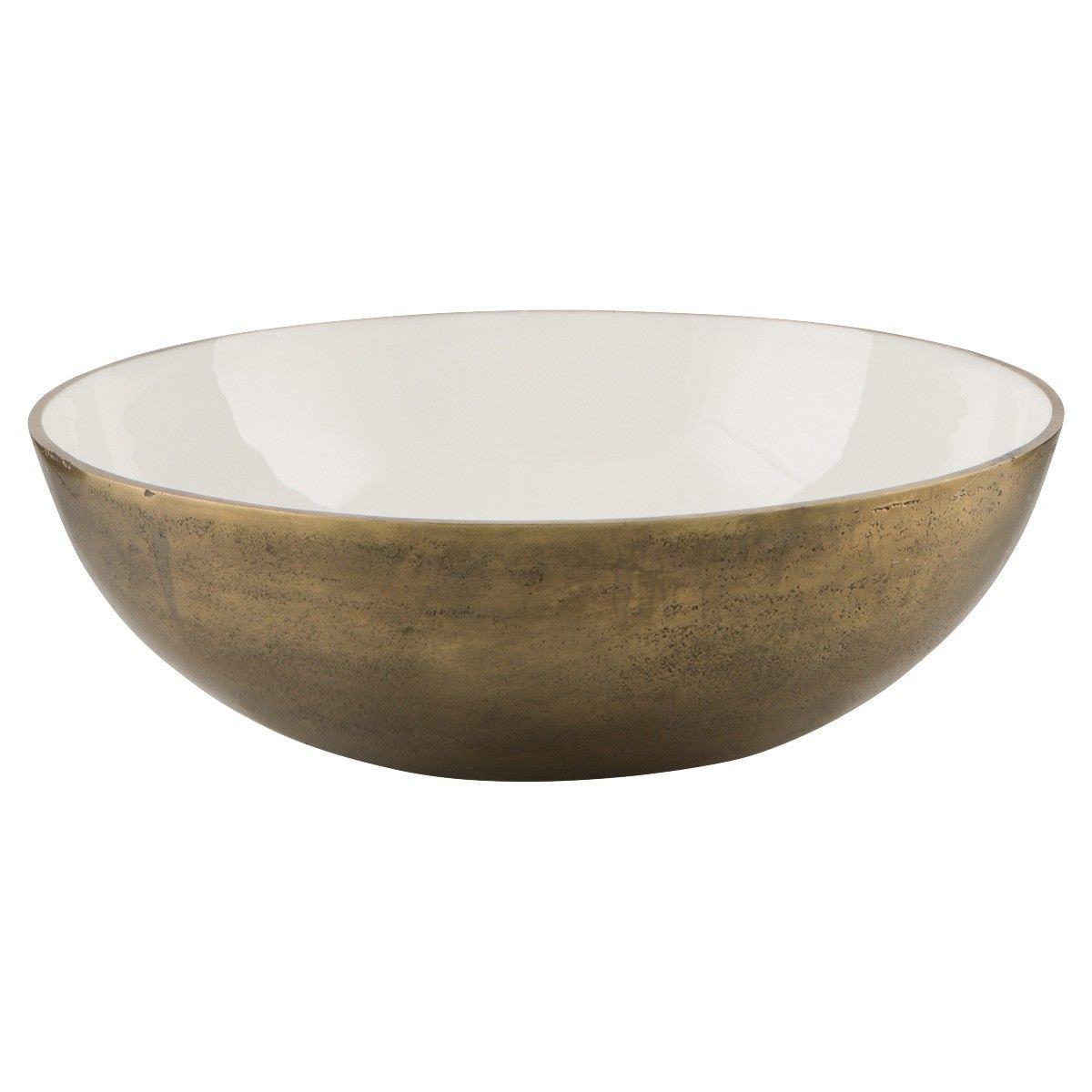 Baloney Enamelled Aluminium Round Bowl, Large, White/Gold