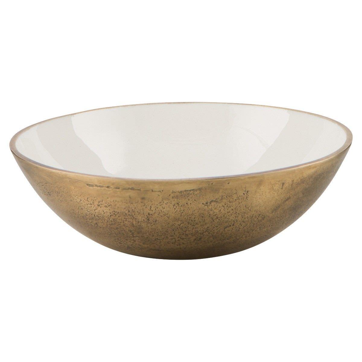 Baloney Enamelled Aluminium Round Bowl, Medium, White/Gold
