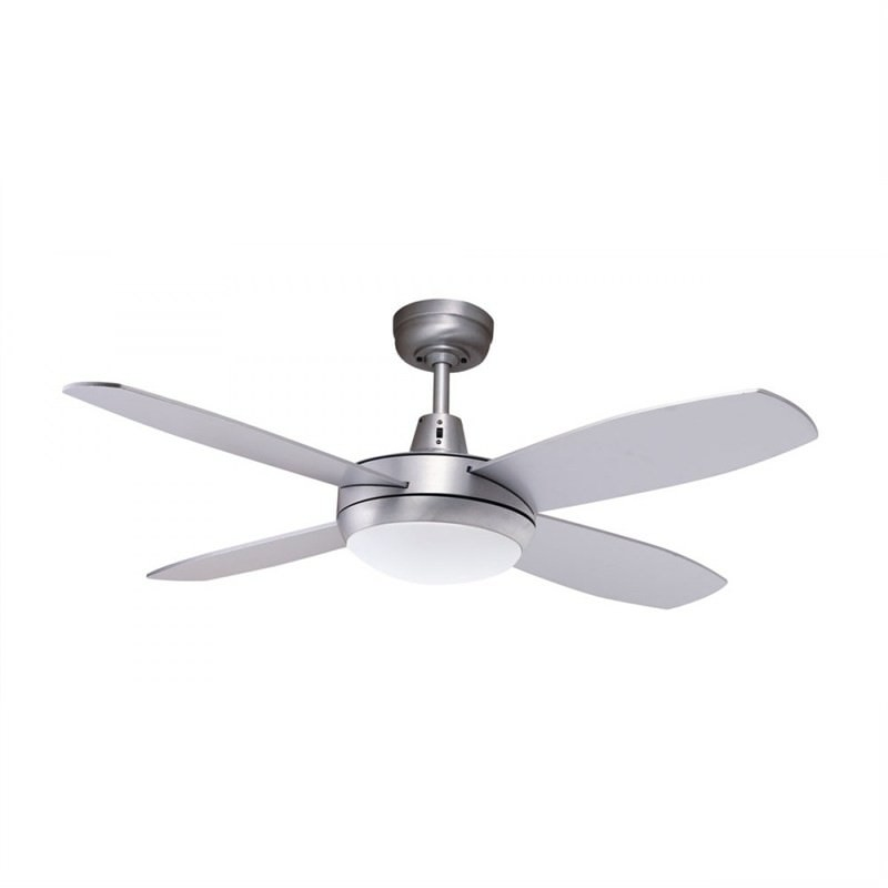 Martec Lifestyle Mini 4 Plywood Blade Fan (DLS1043B) with Dimmable 3000K LED Light in Brushed Aluminium Finish - 107cm