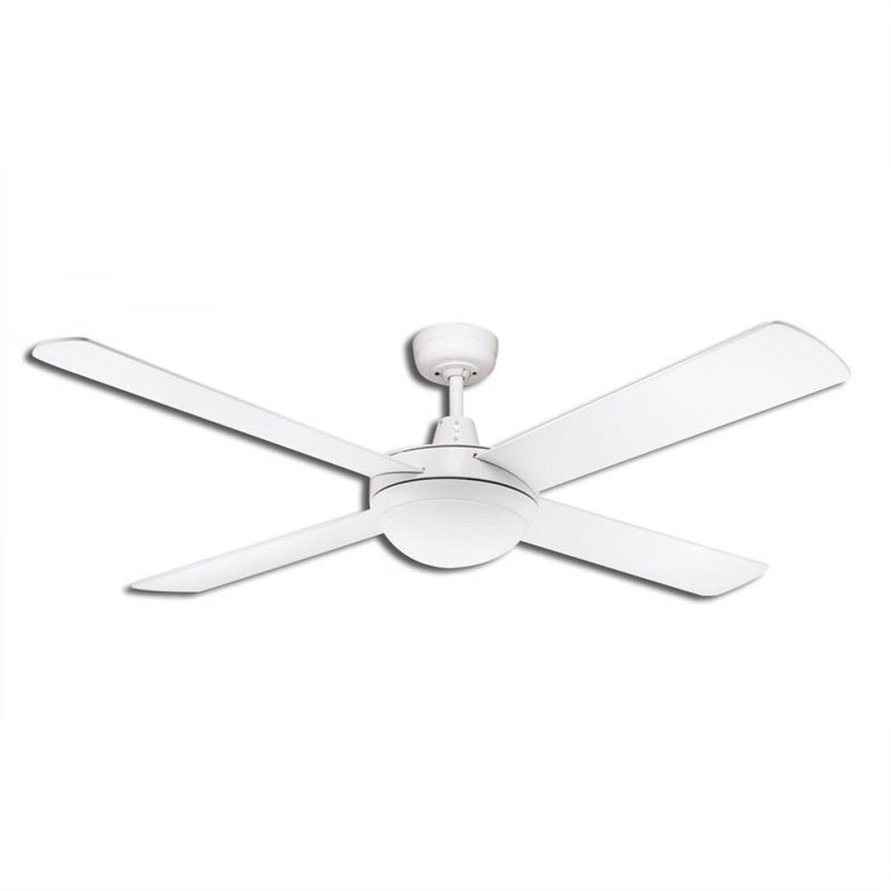 Martec Lifestyle 4 Plywood Blade Fan (DLS1344W) with Twin Light E27 in White - 130cm