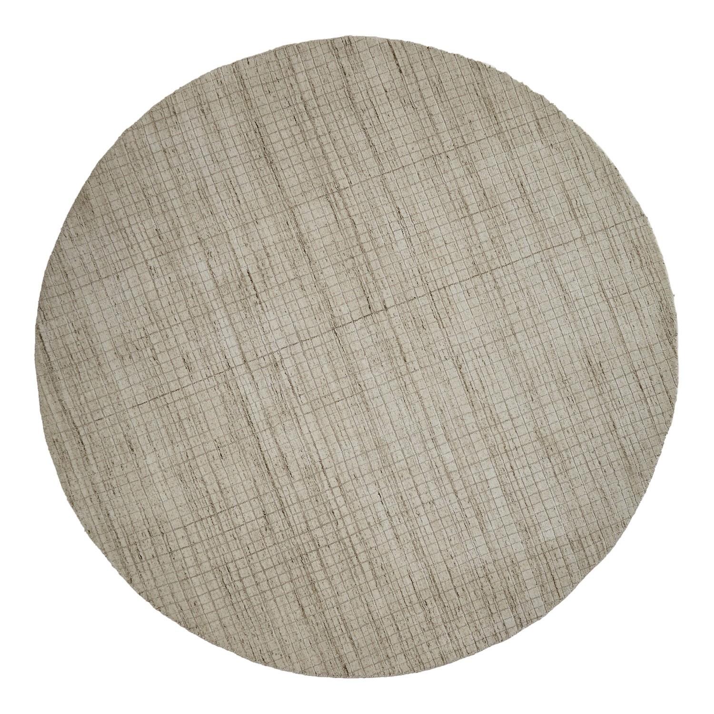 Damas Lattice Handwoven Wool Round Rug, 300cm, Beige