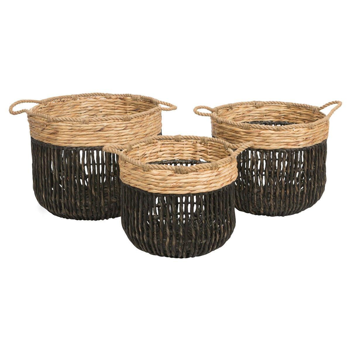 Farrel 3 Piece Water Hyacinth Basket Set, Black