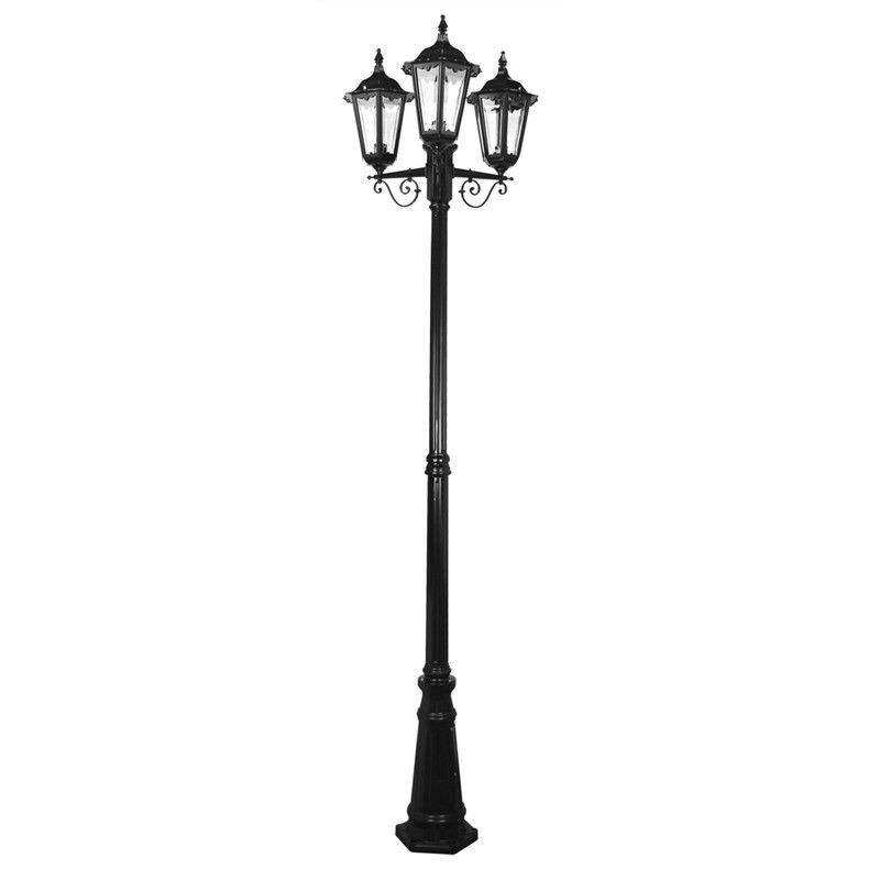 Italian Made Chester 247cm Aluminium IP43 Exterior Triple Head Fancy Post Light - Black