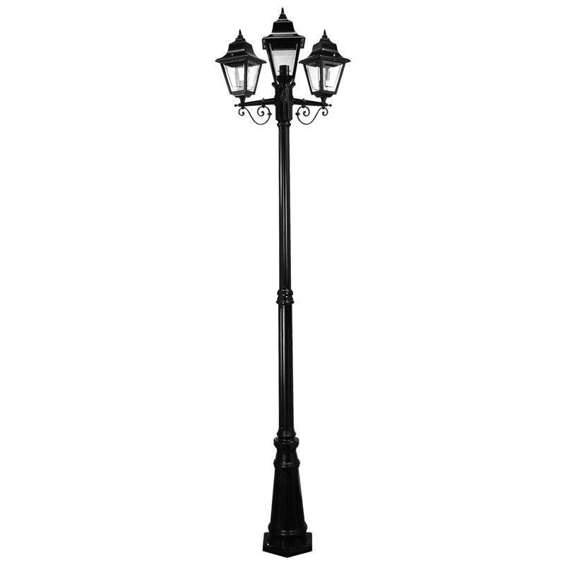 Italian Made Paris 245cm Aluminium IP43 Exterior Triple Head Fancy Post Light - Black