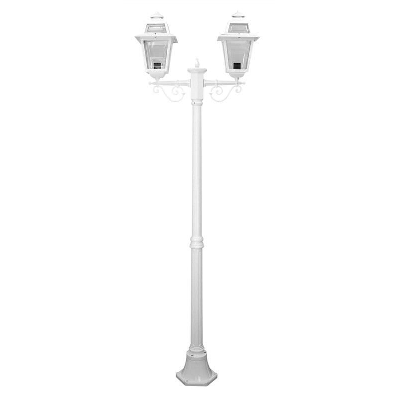Italian Made Avignon 205cm Aluminium IP43 Exterior Tw- Head Fancy Post Light - White
