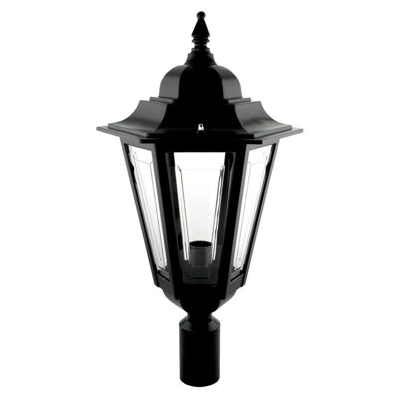 Italian Made Turin Large Aluminium IP43 Exterior Post Lantern - Black