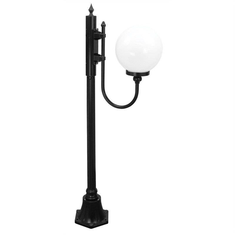 Italian Made Lisbon 132cm Aluminium IP43 Exterior Single 25cm Head Fancy Post Light - Black