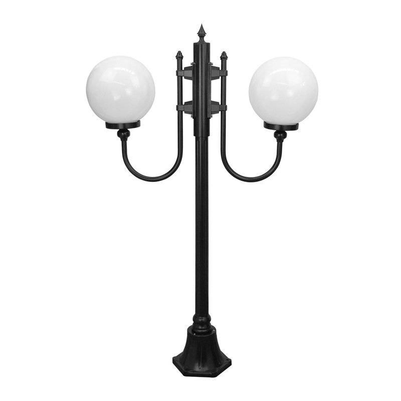 Italian Made Lisbon 132cm Aluminium IP43 Exterior Tw- 30cm Heads Fancy Post Light - Black