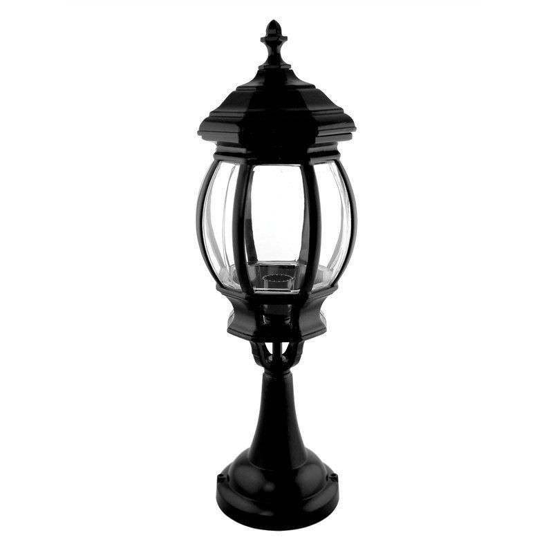 Italian Made Vienna Small Aluminium IP23 Exterior Pillar Lantern - Black