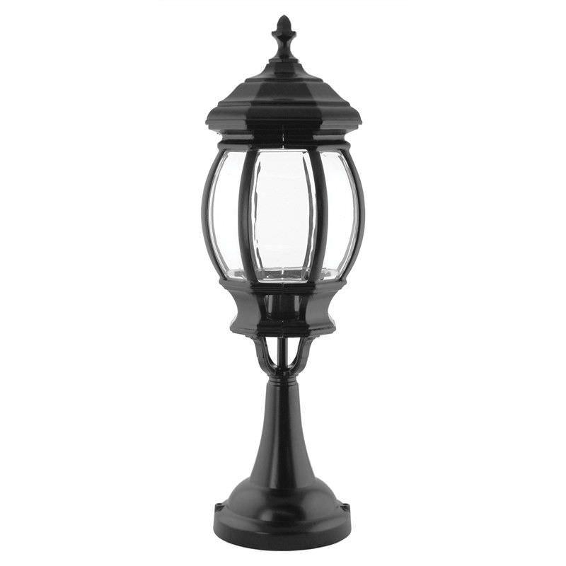 Italian Made Vienna Large Aluminium IP23 Exterior Pillar  Lantern - Black