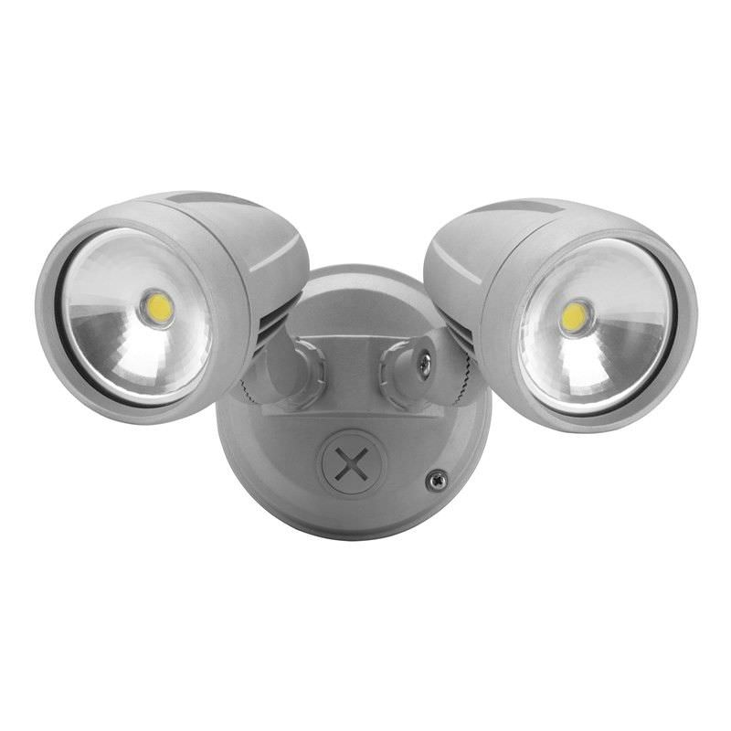 Evergreen Muro-26 IP44 Exterior Twin Head LED Floodlight, Silver