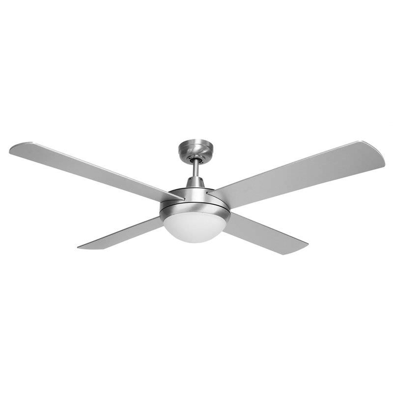 Brisk 52 Inch Plywood Blade Aluminium Ceiling Fan with Cool White LED Light - Silver