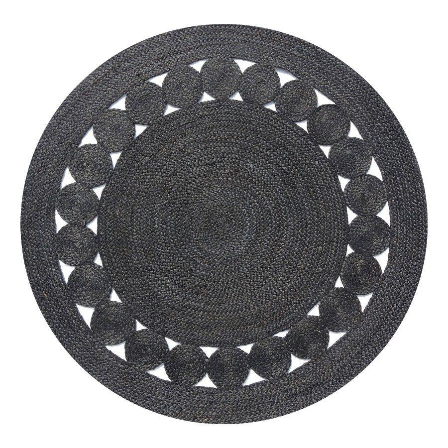 Dot Hand Braided Round Jute Rug, 140cm, Black