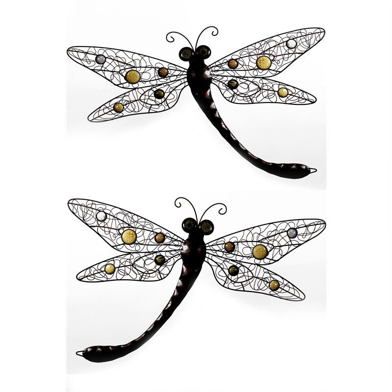 Metal Dragonfly With Stones Wall Plaque