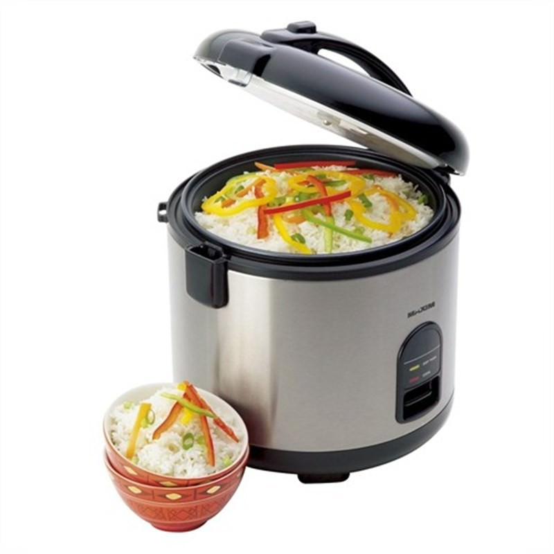 Maxim 7 Cup 1.5L Automatic Stainless Steel Rice Cooker - Steamer with Steamer Basket