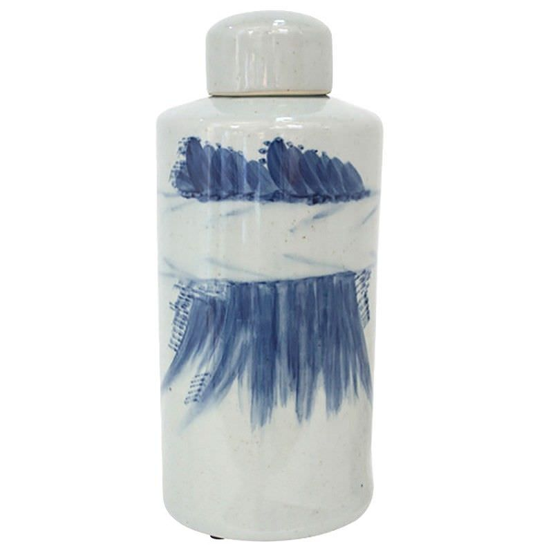 Cumulus Hand Painted Ceramic Lidded Tall Jar