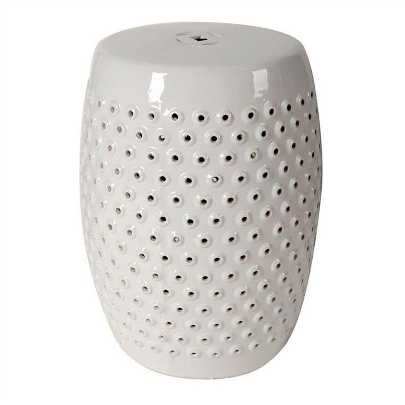Shelly Ceramic Decorative Stool, White