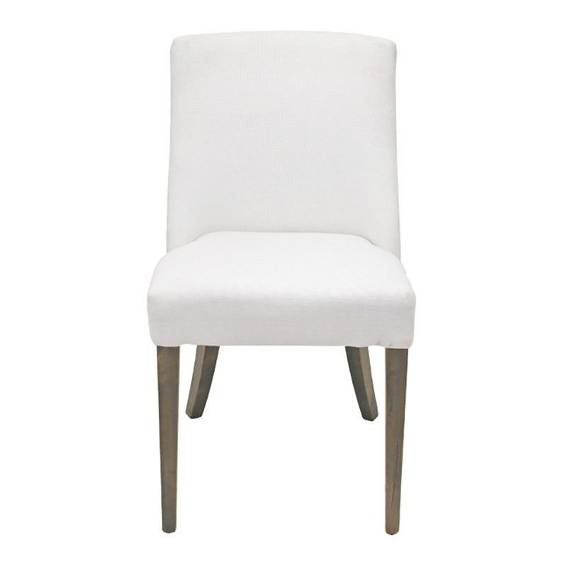 Ophelia Linen Upholstered Solid Timber Dining Chair - White