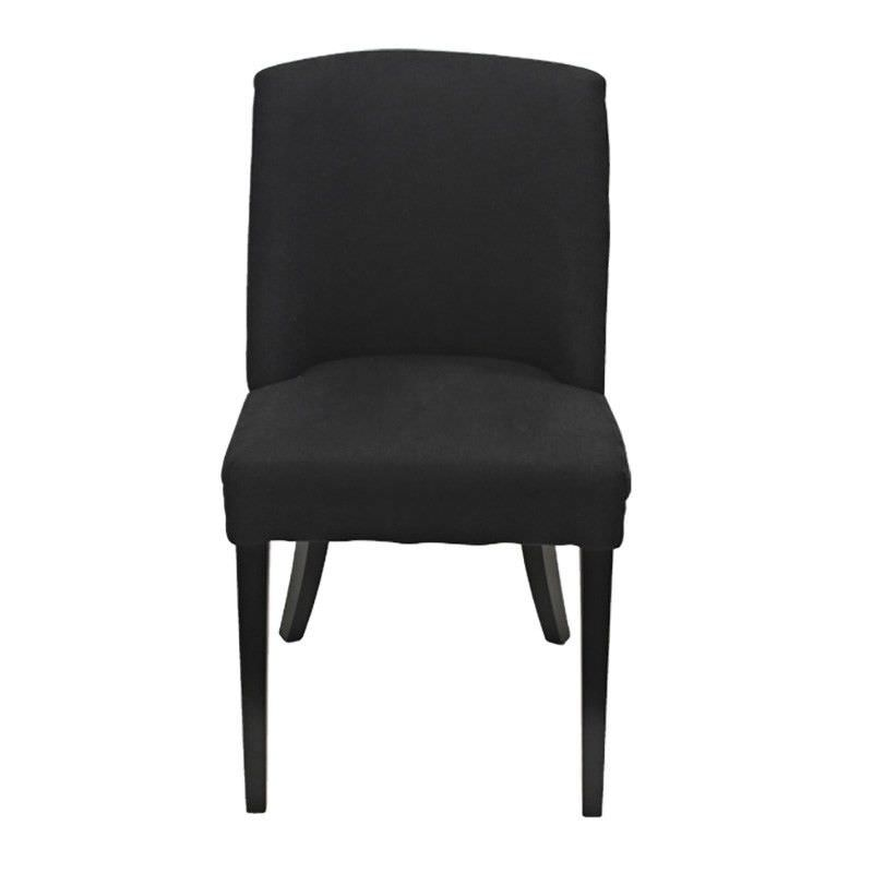 Ophelia Linen Upholstered Solid Timber Dining Chair - Black