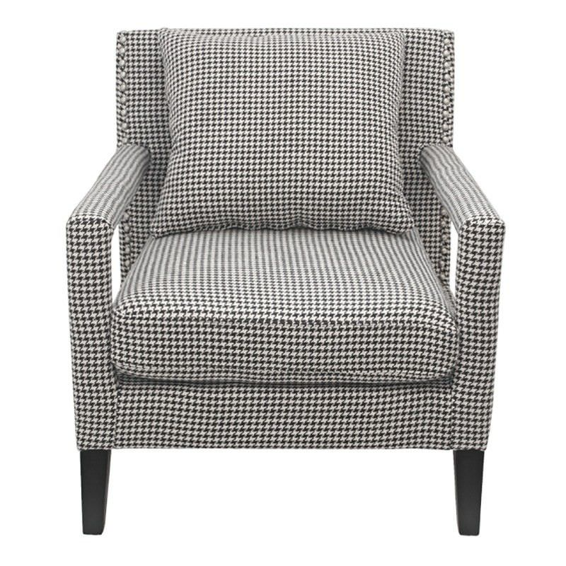 Salix Cotton Linen Upholstered Solid Timber Armchair - Houndstooth Grey
