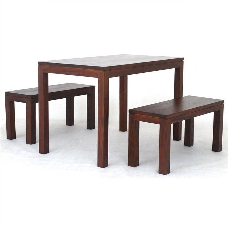 Amsterdam 3 Piece Solid Mahogany Timber 120cm Dining Set - Mahogany