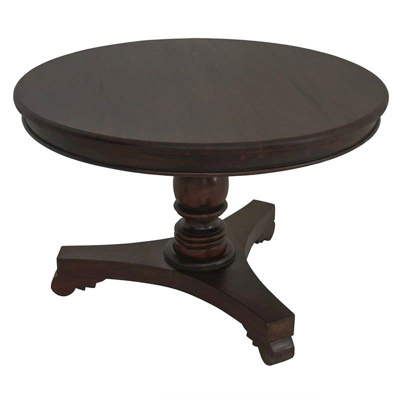 Queen Ann Mahogany Timber Round Dining Table, 120cm, Chocolate