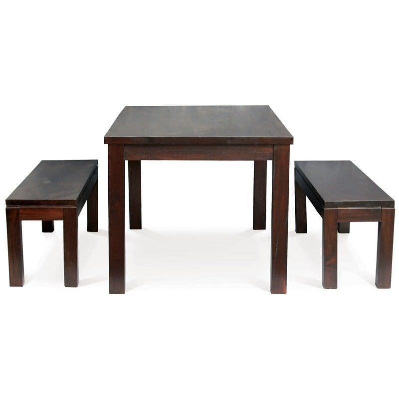 RPN Solid Mahogany 150x90cm Dining Table and 2 Benches in Chocolate