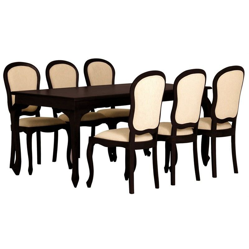 Queen Ann Solid Mahogany Timber 7 Piece 180cm Dining Set - Chocolate