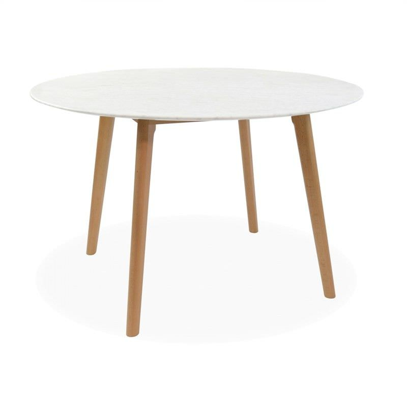 Abir Marble Top Solid Oak Timber 120cm Round Dining Table